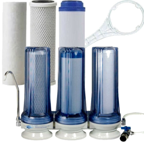 FOUNTAINHEAD 3 STAGE COUNTERTOP WATER FILTER CLEAR SEDIMENT/FLUORIDE/CARBON