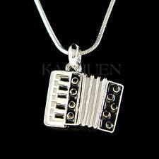 w Swarovski Crystal Black Bass Piano Accordion Squeezebox Music Musical Necklace