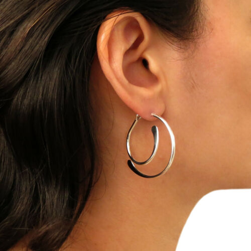 Stylish Hoops 925 Sterling Silver Two Way Hoop Circle Drop Earrings