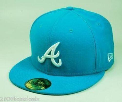 NEW ERA 59Fifty Fitted Baseball Hat Atlanta Braves Blue Jewel Men Cap