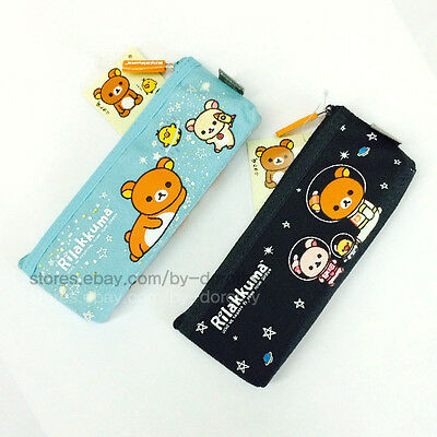Cute Rilakkuma Bear Fabric Pencil Case Pen Zipper Bag School Stationery Supplies