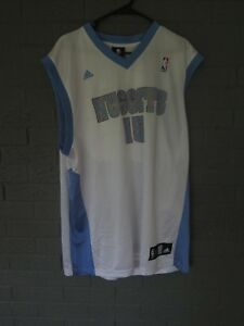 low priced b8111 6e5ba Details about REEBOK DENVER NUGGETS JERSEY CARMELO ANTHONY LARGE WHITE BLUE  # 15