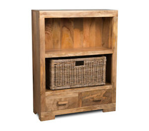 Image Is Loading LIGHT MANGO SMALL BOOKCASE WITH RATTAN WICKER