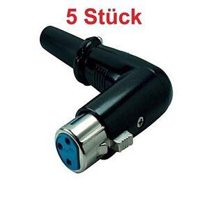 XLR-Audio-runder-Winkel-Stecker-3-Pins-zum-loeten-fuer-Mikrofon-abgewinkelt-Buchse