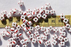 Vintage-Czech-Crow-Seed-Beads-8x6-5mm-White-w-Red-Stripes-1oz