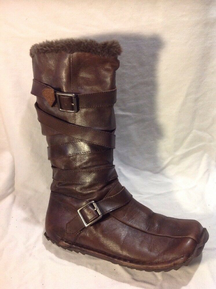 Aldo Brown Mid Calf Leather Boots Size 36
