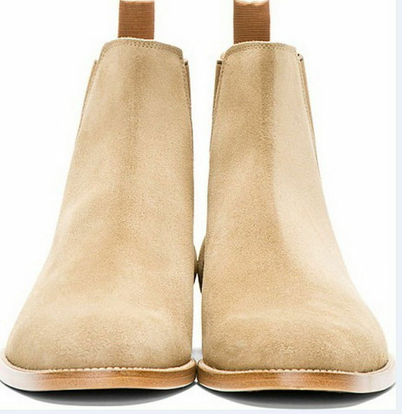 MENS HANDMADE HUNTER TAN CAMEL SUEDE LEATHER Schuhe MEN SUEDE BEIGE ANKLE BOOT