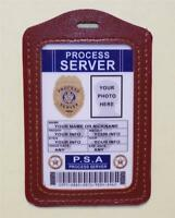 Process Server Id Badge >customize With Your Photo & Info< W/ Badge Holder