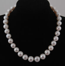 Large 12-14mm Freshwater Cultured White Pearl Necklace & Silver Clasp(Ball)