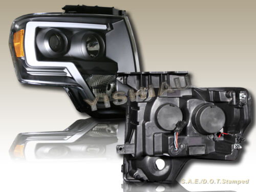 09-14 Ford F150 Pickup 2D//4D Black LED Strip Plank Style Projector Headlights