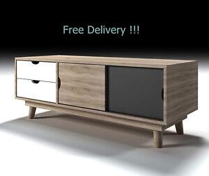 new product b80ef 4e451 Details about Large Scandinavian Sideboard Retro Cabinet White Grey Oak  Storage Buffet TV Unit