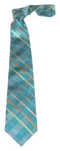 """MENS 100/% Premium Silk Classic Tie Silver Green Multicoloured Stripe 3.5/"""" W 58/""""L"""