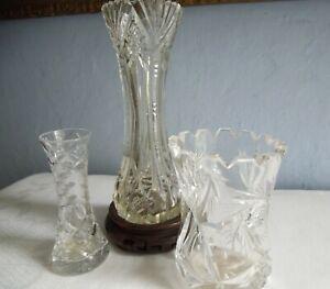 Antique-Edwardian-Cut-Glass-Lead-Crystal-Vase-amp-2-Vintage-Vases-Group-Job-Lot