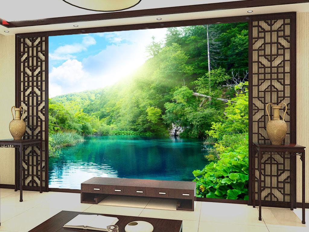 3D Sonnenschein Strauch See 84 Tapete Wandgemälde Tapete Tapeten Bild Familie DE   Hochwertige Produkte    Einfach zu bedienen    Wunderbar