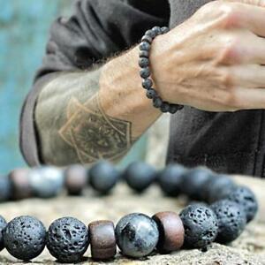 Men-039-s-Healing-Yoga-Beaded-Bracelet-8mm-Lava-Stone-Meditation-Mala-Beads-Jewelry