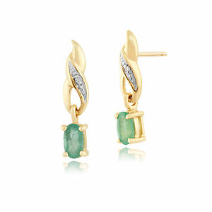 9ct-Yellow-Gold-0-46ct-Oval-Cut-Emerald-amp-Diamond-Classic-Drop-Earrings