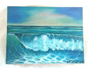 Original-Acrylic-Painting-9-034-x12-034-Canvas-Panel-Seascape-Beach-Wave-Decor-Art