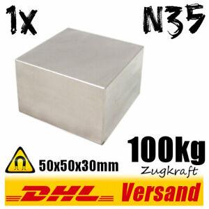 Neodym-Magnet-50x50x30mm-5x5x3cm-100kg-N35-starker-Werkstattmagnet-Dauermagnet