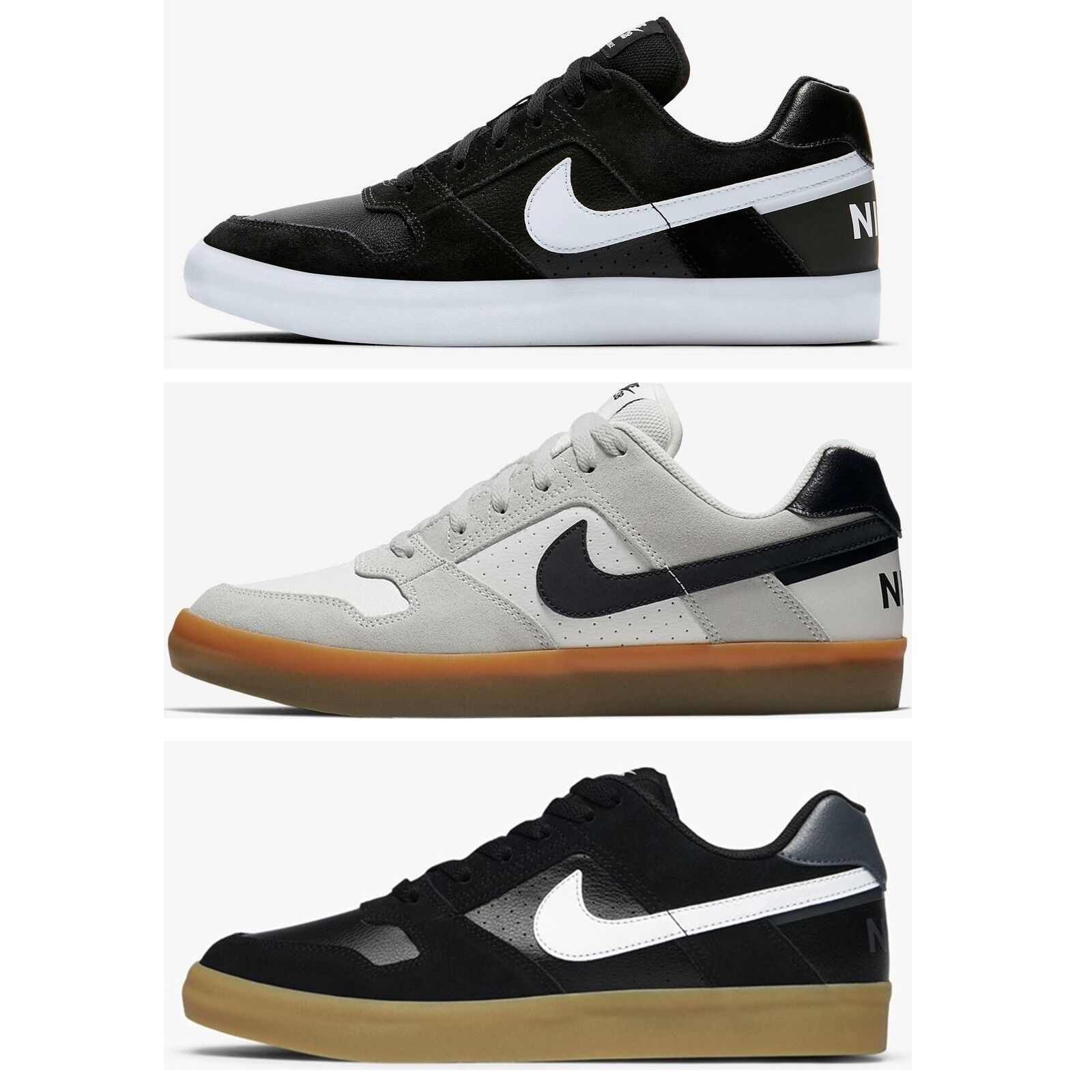 Nike SB Delta Force Vulc Sports Skateboarding Shoes Sneakers Trainers Black 942237-005,White 942237-101
