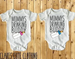 Daddys Drinking Buddy in Pink or Blue  BABY VEST// GROW WHITE all sizes available