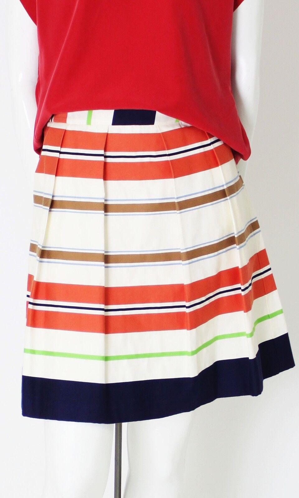 75% Off damen Designer Pleated Skirt in French striped fabric, fatto in USA