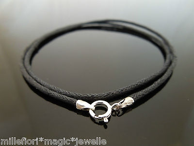 """1.5mm Black Waxed Cord /& 925 Sterling Silver Necklace 14/"""" 16/"""" 18/"""" 20/"""" 22/"""" 24/"""""""
