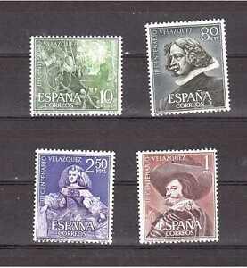 EDIFIL-1340-1343-III-CENTENARIO-DE-LA-MUERTE-DE-VELAZQUEZ-ESPANA-ANO-1961