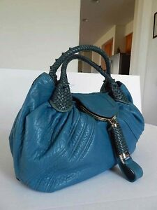7f33cb778510 Image is loading 3699-Large-Fendi-Teal-Full-Cow-Leather-SPY-