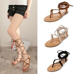 e126d9063aec Image is loading Summer-Womens-Gladiator-Sandals-Flip-Flop-Strappy-Roma-