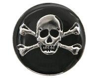 6 Skull & Crossbones 3/4 Inch ( 20 Mm ) Dill Metal Buttons Silver & Black Color