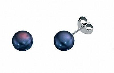 Selbstbewusst, Befangen, Gehemmt, Unsicher, Verlegen Black Pearl Stud Earrings Sterling Silver Studs Freshwater Pearls