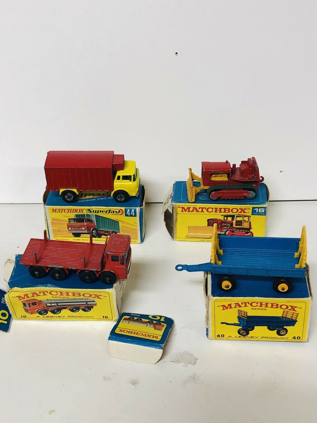 Lote 4 Matchbox 10 16 40 44 Box Original Pipe Truck Case Tractor Hay Trailer Ref