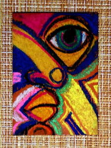 ACEO-original-pastel-painting-outsider-folk-art-brut-010392-abstract-surreal