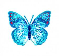 Craft Factory Iron or Sew On Fabric Motif Applique Blue Sequin Butterfly ea...