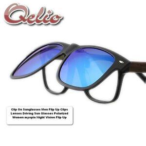 67ba0b4019 Clip On Sunglasses Men Flip Up Clips Lenses Driving Sun Glasses ...
