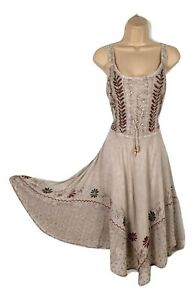 Midi-Boho-Summer-Dress-Embroidered-Corset-Fit-amp-Flare-Beige-One-Size-8-10-12-14