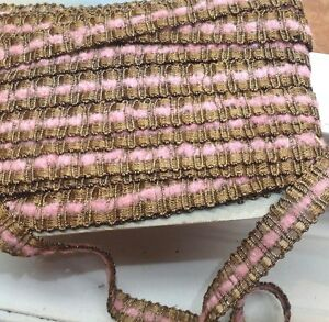 VINTAGE-ANTIQUE-FRENCH-GOLD-METALLIC-TRIM-PINK-CHENILLE-3-4-034-1yd-Lampshades