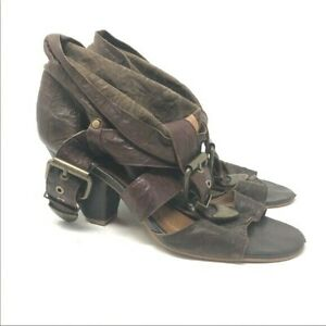 Jeffrey-Campbell-Size-9-5-Brown-Buckle-Heels-Strappy-Leather