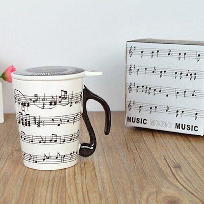 Tasse Mug de Musique avec Couvercle Poignée Forme Note de Musique en Porcelaine