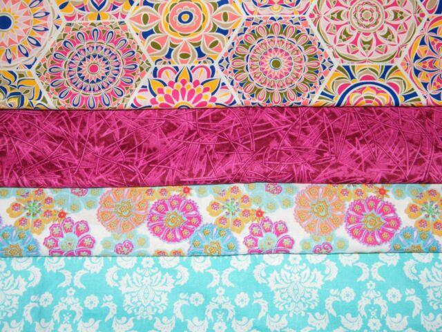 4 FQ Bundle – FUCHSIA & TURQ Prints 100% Cotton Quilt Craft Fabric Fat Quarters