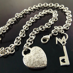 Necklace-Chain-Real-925-Sterling-Silver-S-F-Solid-Antique-Heart-Key-Pendant