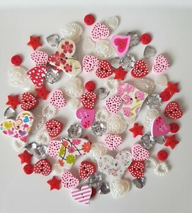 Details about 100 LOVE HEART BUTTONS WOOD,RESIN EMBELLISHMENTS SCRAPBOOKING  CRAFTS CARD MAKING