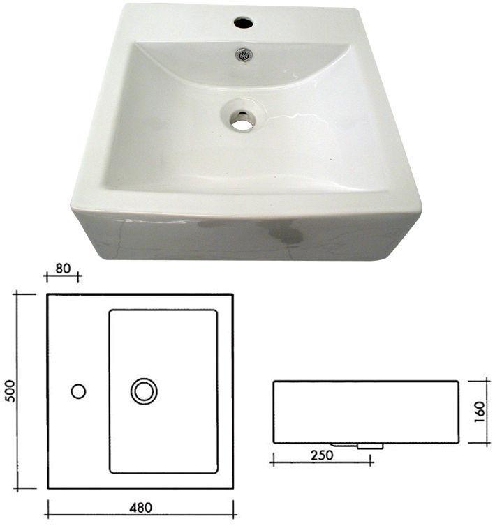 Lavabo Lavandino d'Appoggio Rettangolare Elma cm 50x48