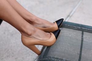 Rare-ZARA-Tan-Black-Leather-High-Block-Heels-Shoes-UK-4-Euro-37-Bloggers-Fave