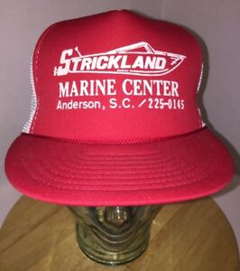 VTG STRICKLAND MARINE CENTER Anderson SC 80s 90s LOCAL Trucker Hat Cap Snapback