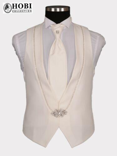 Hommes Gilet plastron Costume Gilet marié Event Fête Scène Ivoire Blanc Set