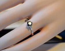 14K White Gold 6 Prong 1 Carat Genuine  Black Diamond Solitaire Engagement Ring