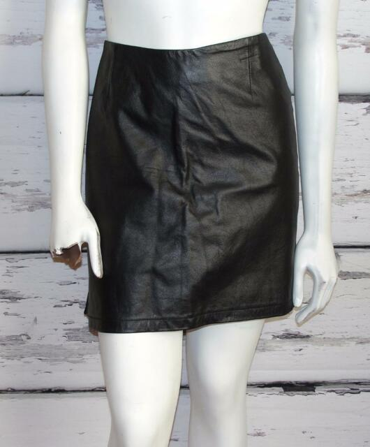 PS-3983~BLACK~THICK HEAVY LEATHER *HIGH-WAIST* VINTAGE~PENCIL SKIRT (Fits 8-10)