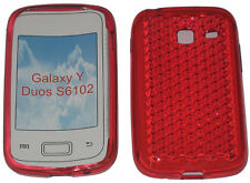 Per Samsung Galaxy Young Y Duos GT S6102 PATTERN Gel Custodia Protettiva Cover Rosso UK