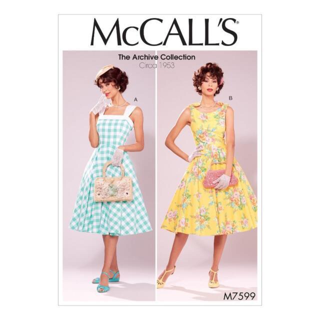Vtg 50s Retro Rockabilly Shoulder Strap Tie Dress Sewing Pattern Sz ...